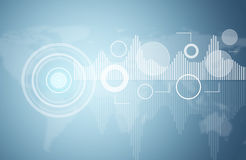 Graphs, circles and world map Stock Images