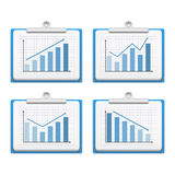 Graphs. Clipboards with graphs on white background Royalty Free Stock Photos