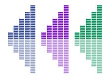 Graphs Collection Blue Purple Green. There are three graphs, on a white background Royalty Free Stock Image