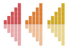 Graphs Collection Red Orange Yellow. There are three graphs, on a white background Royalty Free Stock Photos