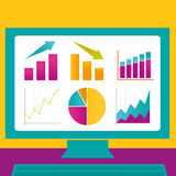 Graphs on a Computer Screen. Various graphs on a computer screen Royalty Free Stock Photo