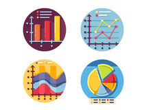 Graphs and diagrams icons set Royalty Free Stock Photos