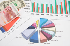 Graphs and euro Royalty Free Stock Image