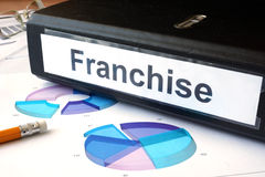 Graphs and file folder with label franchise. Business concept royalty free stock image