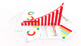 Graphs of financial analysis business market success invest  3d illustration. Background Royalty Free Stock Photos