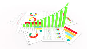 Graphs of financial analysis business market success invest isolated illustration. Graphs of financial analysis business market success invest isolated 3d Stock Image