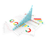 Graphs of financial analysis business stock invest. 3d illustration Royalty Free Stock Photography