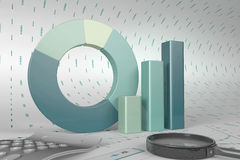 Graphs of financial analysis. Charts Financial Analysis  with calculator and magnifying glass Royalty Free Stock Photos