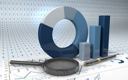 Graphs of financial analysis. Charts Financial Analysis  with pen and magnifying glass Royalty Free Stock Images