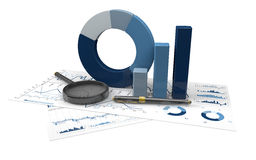 Graphs of financial analysis. Charts Financial Analysis  with pen and magnifying glass Stock Images