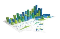 Graphs of financial analysis - Isolated. Blue-green Graphs of financial analysis - Isolated Stock Photos