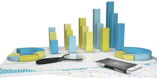 Graphs of financial analysis - Isolated. Colorful Graphs of financial analysis - Isolated Stock Photography