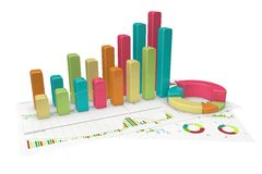 Graphs of financial analysis - Isolated. Colorful Graphs of financial analysis - Isolated Royalty Free Stock Image