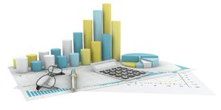 Graphs of financial analysis - Isolated. Colorful graphs of financial analysis - Isolated Royalty Free Stock Photo