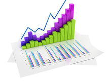 Graphs of Financial Analysis - Isolated. On white backround Stock Photography