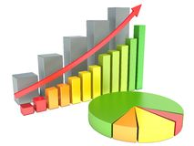 Graphs of financial analysis. On white Royalty Free Stock Image