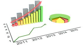 Graphs of financial analysis. On white Royalty Free Stock Photo