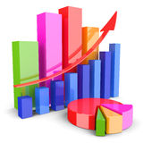 Graphs of financial analysis. On white background Stock Images