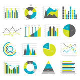 Graphs Flat Icons Set. Colored and isolated graphs flat icons set different types of charts and graphs vector illustration Stock Images