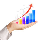 Graphs on the hand Royalty Free Stock Photos
