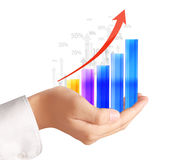 Graphs on the hand Royalty Free Stock Photo