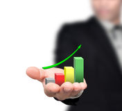 Graphs on the hands. Graphs on the hands of businessmen Royalty Free Stock Photos