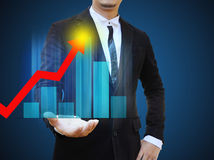 Graphs on the hands of businessman stock illustration
