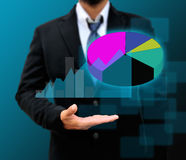 Graphs on the hands royalty free stock photos