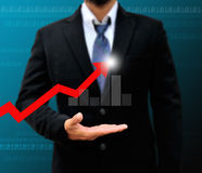 Graphs on the hands stock photos