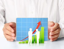 Graphs on the hands Royalty Free Stock Photo