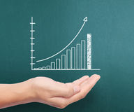 Graphs on the hands Stock Image