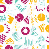 Graphs icons color pattern eps10 Royalty Free Stock Photography