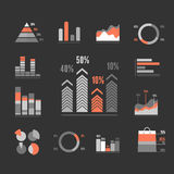 Graphs Icons Set. Vector. Graphs Icons Set. Infographics Elements on Black. Vector illustration Stock Image