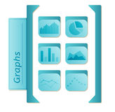 Graphs icons with six types of graphs in blue color on white bac Royalty Free Stock Photography
