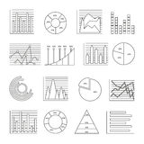 Graphs Line Icon Set Royalty Free Stock Photo