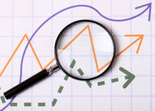 Graphs and Magnifying glass Stock Image