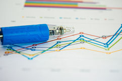 graphs with pen Royalty Free Stock Image