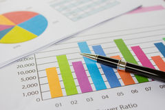 Graphs, pen, business on table. Stock Images