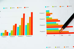 Graphs and pen Stock Images