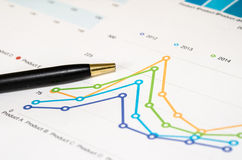 Graphs and pen Stock Photography