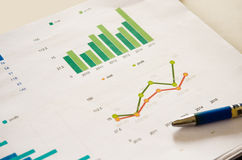 Graphs and pen Royalty Free Stock Images
