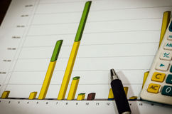 Graphs and pen Royalty Free Stock Photo