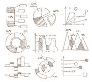 Graphs, Pie Charts and Diagrams. Hand Drawn. Vector Business Icons Set stock illustration