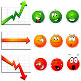 Graphs of stability, profit and falls. With smiley faces with many expressions Stock Image