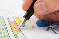 Graphs tables and documents Stock Photos