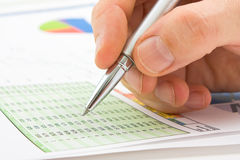 Graphs tables and documents Stock Photo