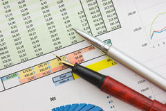 Graphs tables and documents Stock Photography