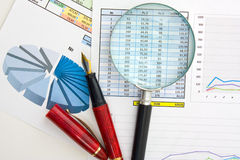 Graphs tables and documents Royalty Free Stock Photo
