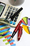 Graphs tables and documents Stock Image