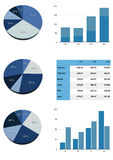 Graphs of various types of blue. Illustration Royalty Free Stock Photo
